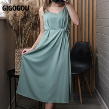 GIGOGOU Summer Women Spaghetti Strap Dress Solid Color Midi Dress Strap Adjustable Sleeveless 2021 Korean Chic Dresses Vestido