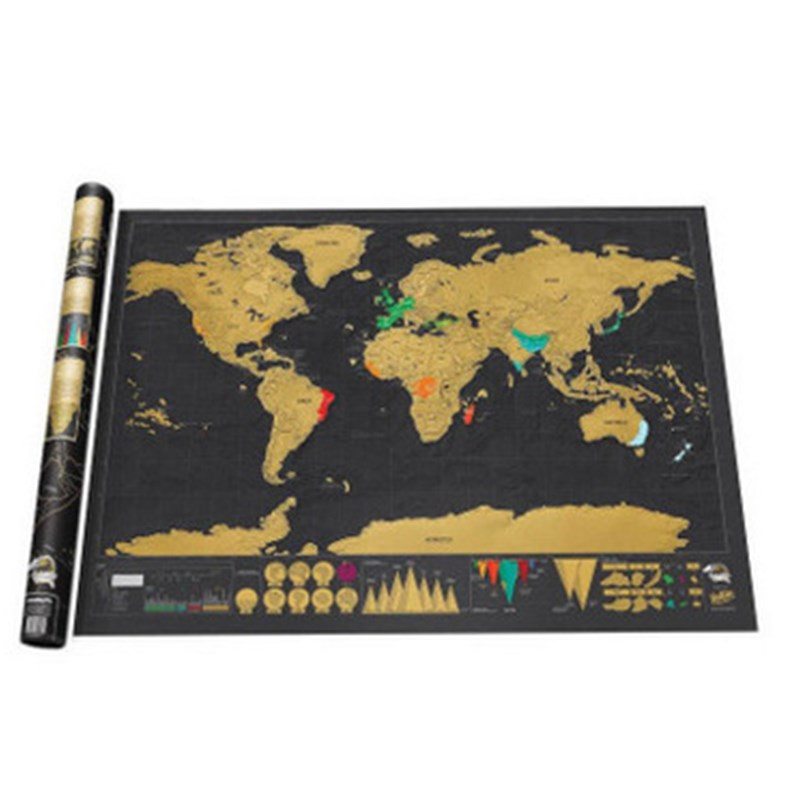 82.5 X 59.4cm Scratch Map Scratch Off World Travel Map Room Decoration Wall Stickers Poster Copper Foil Personalized Journal