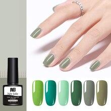 8ml NEE JOLIE Nail Gel Polish Green Series Color One-shot Varnish Art UV Soak Off