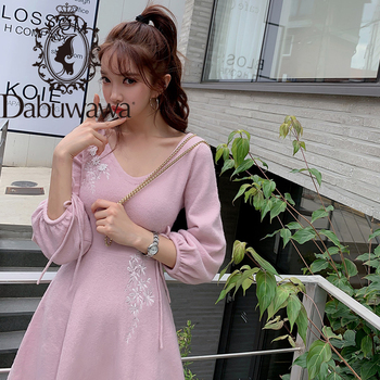 Dabuwawa Autumn Vintage Embroidery Pink Dress Women V-Neck Lantern Sleeve A Line Sweet Fit and Flare Dress Female DN1DDR027 vintage net panel fit and flare dress