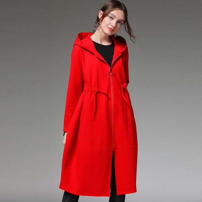 New Plus Size Women's Clothing Autumn Winter Womens Coats drawstring waist Women Windbreaker Hooded Jacket Kpop Red jacket MK330