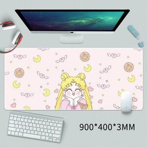 Image 2 - Anime Card captor Sakura denizci ay Unicorn aksiyon figürü su geçirmez masa paspaslar bilgisayar oyun dizüstü klavye matı büyük Mouse Pad