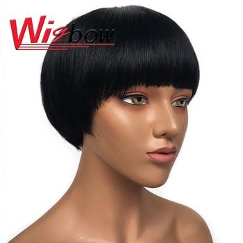 Bob Wig Short Human Hair With Bang Wigs Straight Short Hair Wig Pixie Wig Human Hair Wigs Brazilian Hair Blonde Wig With Fringe short capless side bang straight human hair wig