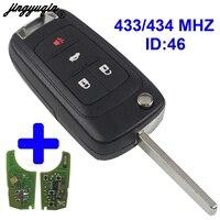 jingyuqin 4 Buttons folding Flip Remote Key fob 433mhz with ID46 chip For Chevrolet Cruze Camaro Equinox Malibu Sonic uncut|Car Key| |  -