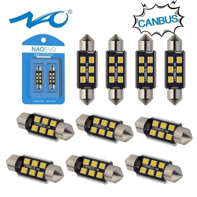 NAO 10x C5W LED Festoon CANBUS 28mm 41mm 44mm 39mm 31mm 36mm C10W led Bulb No Error 12V car interior light Reading singal lamp
