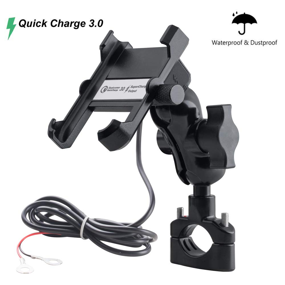 Aileap Motorcycle Phone Mount Entire Aluminium Motorbike Phone Holder Globally Adjustable With QC3.0 Quick Charge USB Socket