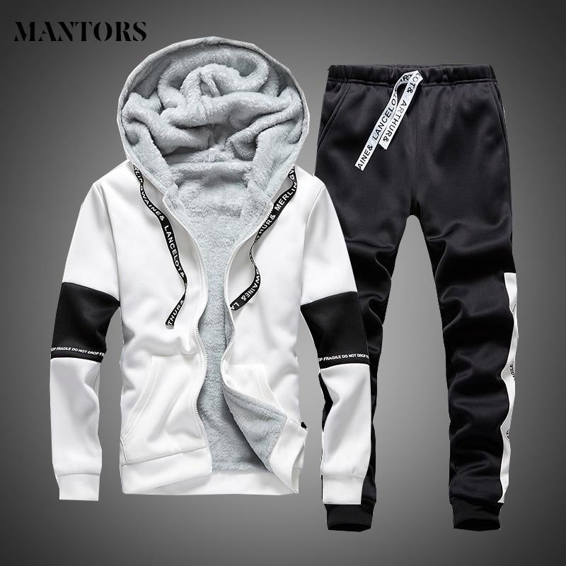 Men's Sportswear Sets 2019 Autumn Winter Casual Tracksuit Men 2 Piece Thick Warm Coat+pant Male Clothing Set Trainingspak Mannen