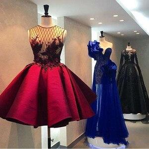 Image 4 - Abiye kryształ 3D kwiat krótkie suknie balowe Illusion wino czerwone bufiaste sukienka koktajlowa moda formalne sukienki na przyjęcie 2020 Abendkleider