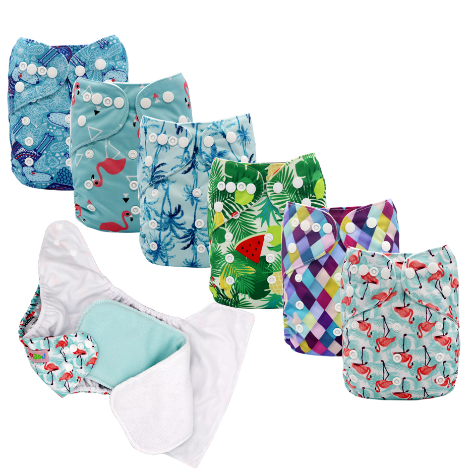 MABOJ Cloth Diapers Baby Pocket Diaper Unisex One Size Nappy Cover Waterproof Digital Prints Reusable ECO Nappies Inserts