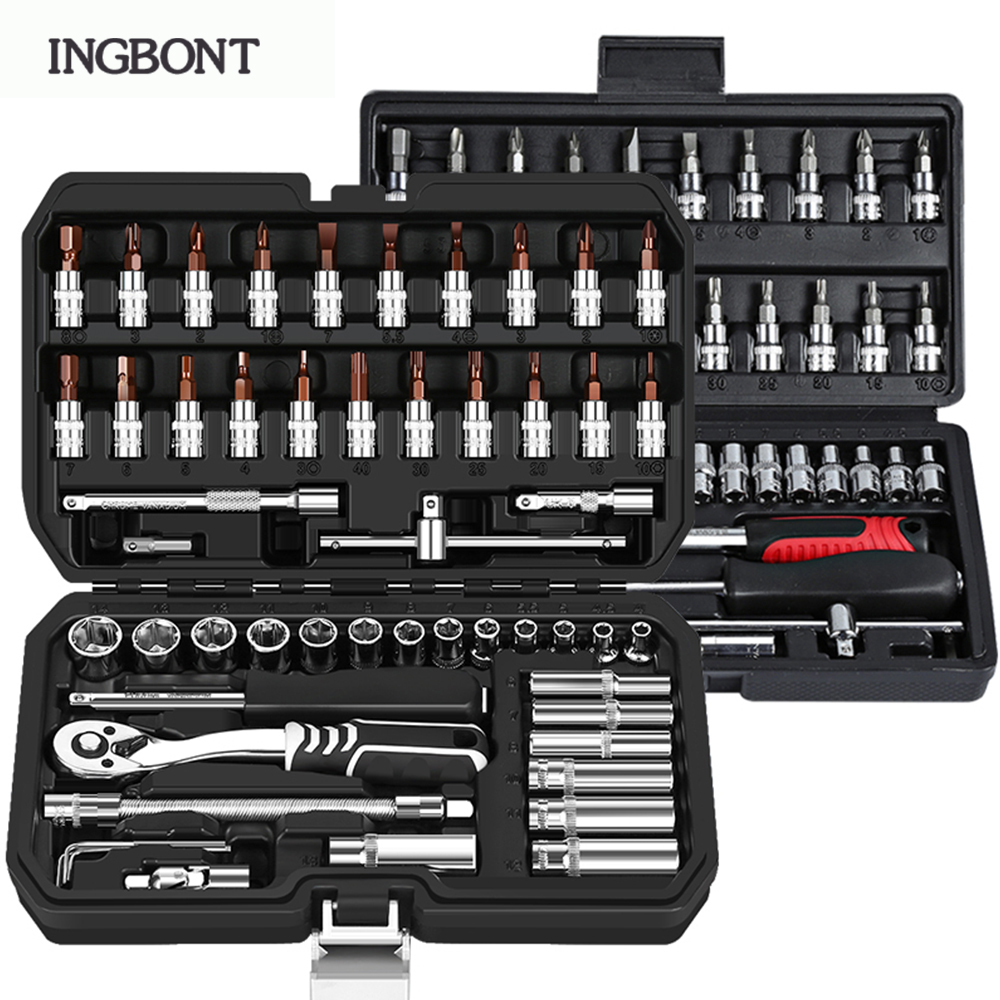INGBONT Carbon Steel Combination Set Wrench Socket Spanner Screwdriver Household Motorcycle Car Repair Tool Hardware Set Kits