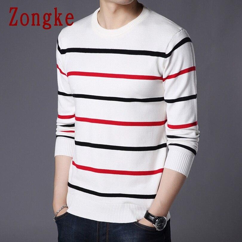 Zongke Stripes Winter Sweater Men Coat Pullover Men Sweater Winter Mens Sweaters For 2019 Autumn New Man Pull Clothes 4XL