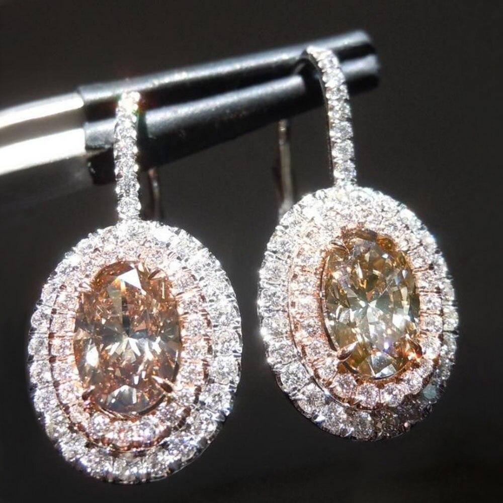 Yobest 2020 Zircon Ear Drop Earrings Patry Jewelry Rhinestone Crystal Round Metal NEW Fashion Women Girl White Geometric