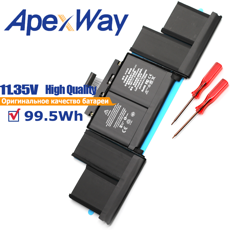 ApexWay A1618 11.36V 99.5Wh laptop <font><b>battery</b></font> for <font><b>MacBook</b></font> <font><b>pro</b></font> <font><b>15</b></font>