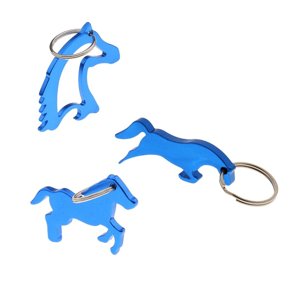 3 Kinds Alloy Horse Pattern Beer Bottle Opener / Key Ring Keychain Bag Pendent Novelty Gift - Blue