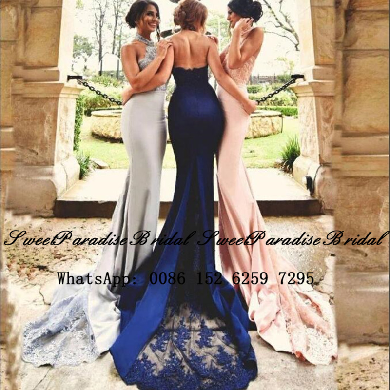 2020 Sheer Lace Mermaid Bridesmaid Dresses With Appliques Sexy Halter Backless  Long Court Train Formal Prom Dress Wedding Party