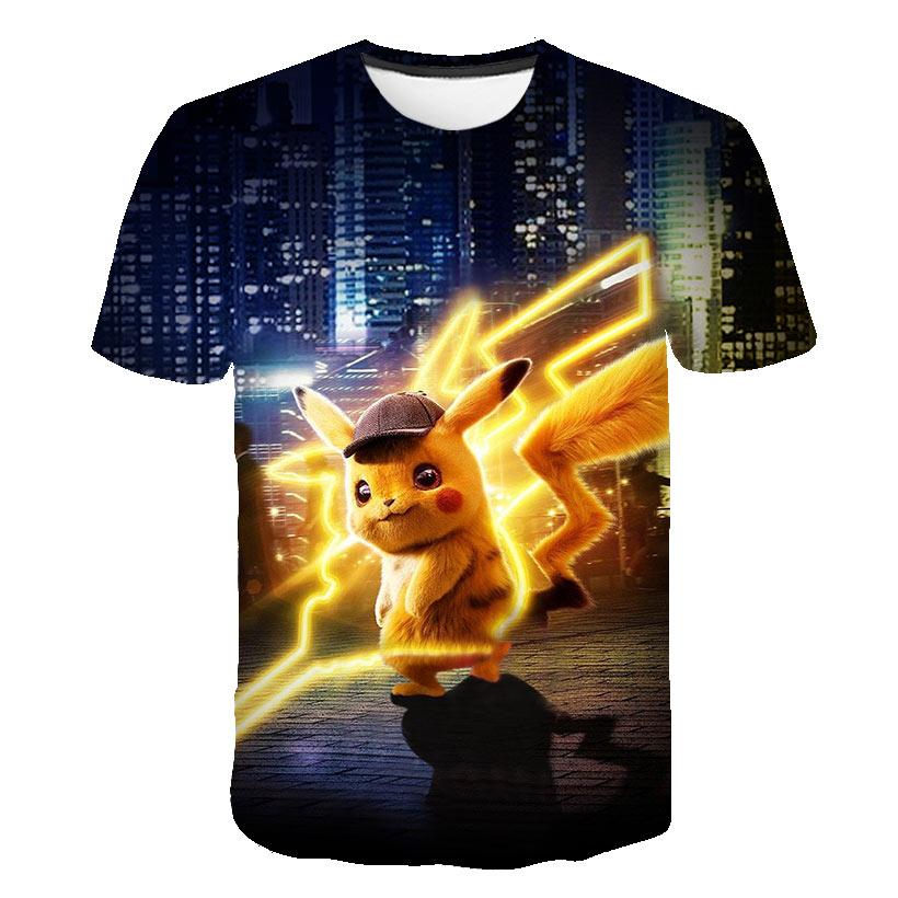 Baby T-shirt Movie Pikachu 3D Pokemon Kids Clothes Japan Cartoon T-shirt Clothes Boys Clothes Anime Harajuku Fashion Streetwear