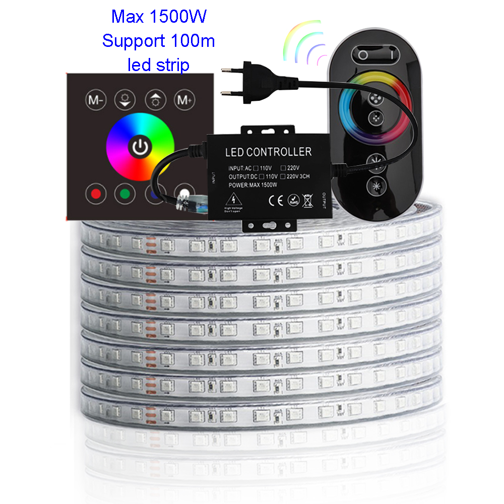 100m SMD5050 Led Light Strip RF Wall Touch Control And Remote Control 220V Waterproof RGB LED Tape Ribbon Ledstrip Stripe JK