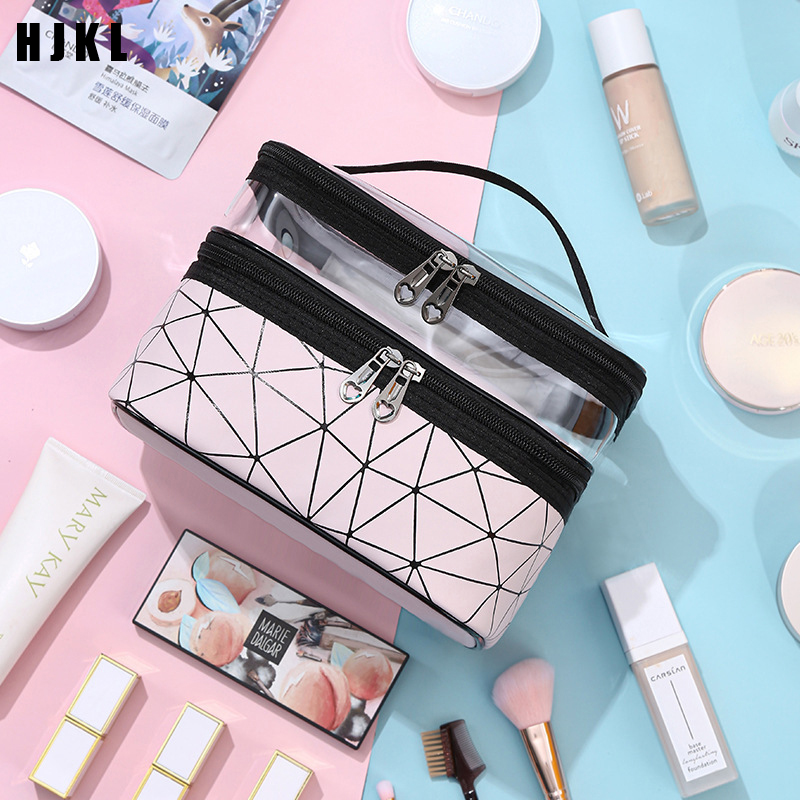 Travel Accessories Make-up BagWomen Double Layer Cosmetic Bag PU Make Up Organizer Bags Travel Waterproof Toiletry Storage Pouch