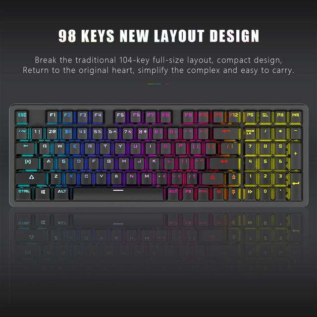 RedThunder Red Switch Mechanical-Keyboard 98-Key New Layout Gaming-Keyboard Up to 15 Cool Lighting Effects Designed for Games 3