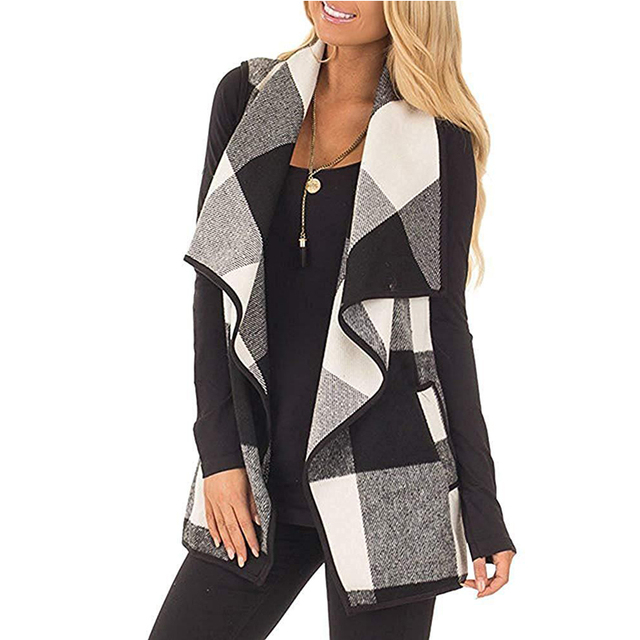 sleeveless jacket Turn Down Neck Open Front 4