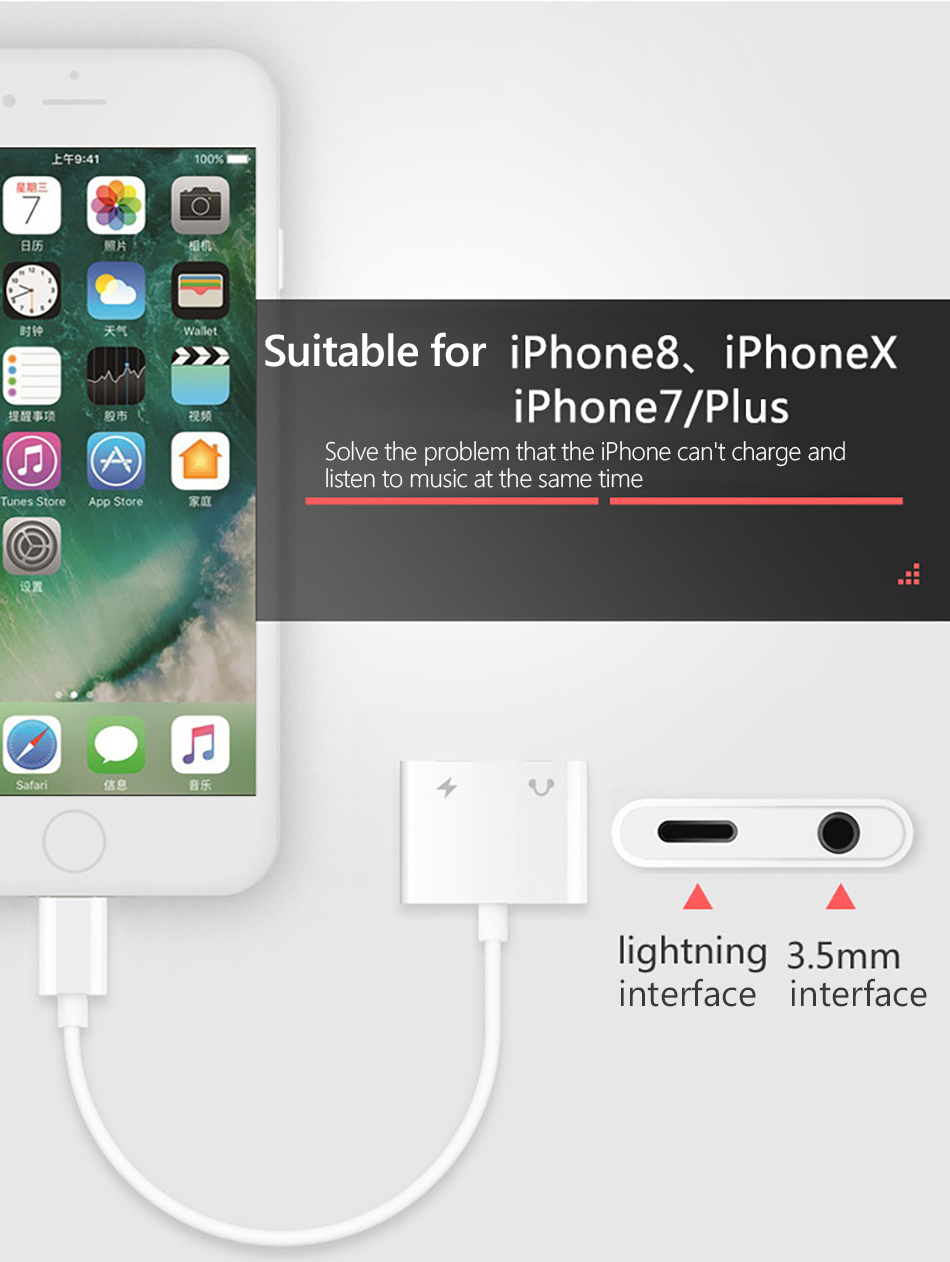 2 in 1 Charging Lighting Adapter For iPhone X 7 8 plus XS MAX Splitter 3.5mm Jack Earphone Aux Cable Connecter Adapters (7)