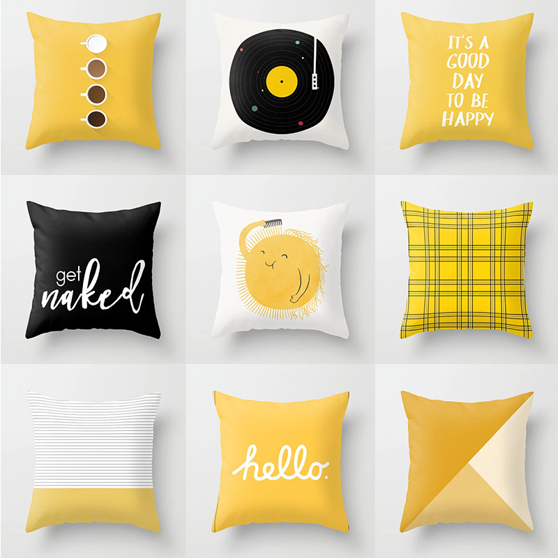 Yellow Cushion Cover Plaid Flower Letters Print Sofa Pillow Cases Bedroom Home Decor Car Office Decorative Accessories 45x45cm