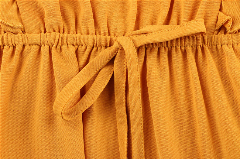 Ruffle Off Shoulder High Waist V Neck Casual Boho Beach Yellow Dress 8
