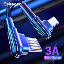 Essager USB type C câble 90 degrés USBC cordon pour Samsung Xiaomi Redmi Note 7 3A chargeur de charge rapide câble de USB-C de téléphone portable