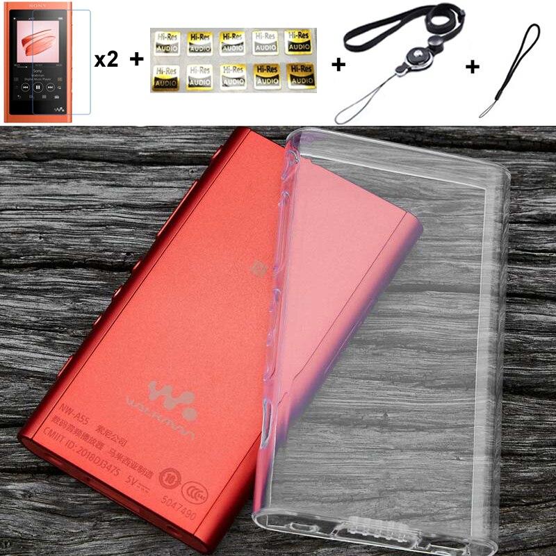 Macio claro tpu capa protetora da pele para sony walkman nw a50 a55 a56 a57 a55hn a56hn a57hn com protetor de tela e alça