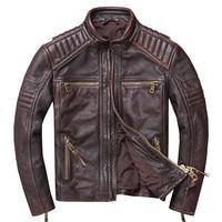 HARLEY DAMSON Vintage Brown Men Stand Collar Motorcycle Leather Jacket Plus Size XXXXXL Genuine Cowhide Slim Fit Biker's Coat