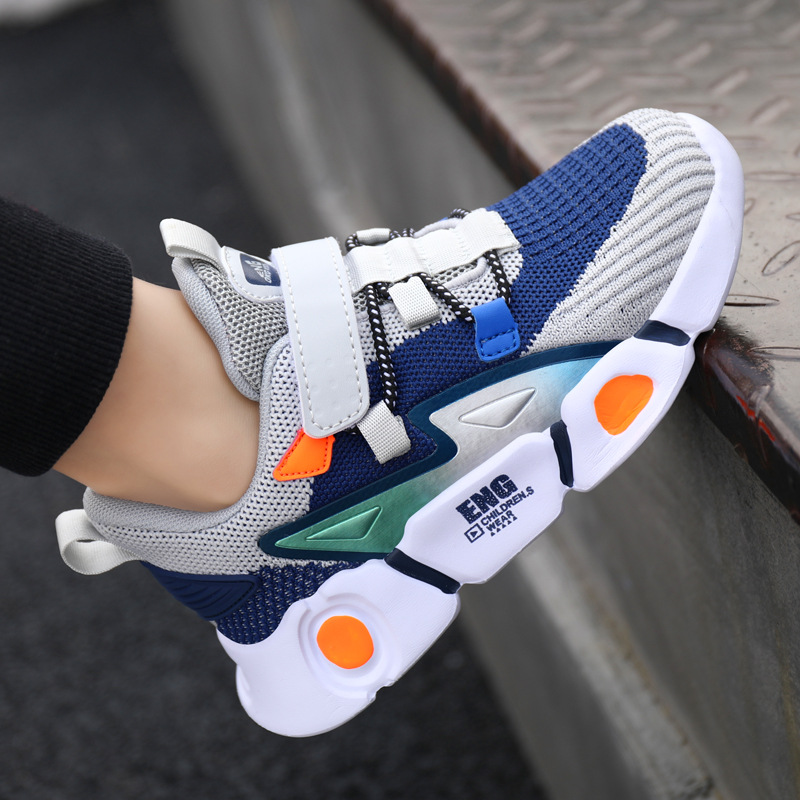 Boy's Autumn Sports Shoes Child Mesh Breathable Surface Running Comfort Kid's Fly Knitting Movement Students Anti-Slip Sneakers