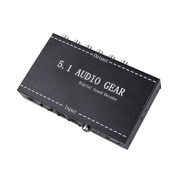 5.1 Audio Gear 2 in 1 5.1 Channel AC3/DTS 3.5mm Audio Gear Digital Surround Sound Decoder Stereo (L/R) Signals Decoder HD Player