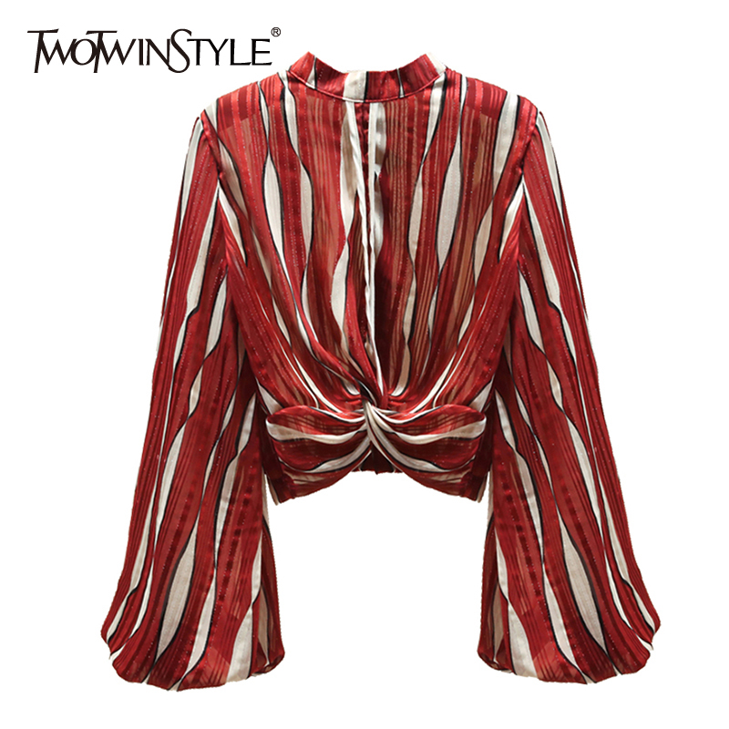 TWOTWINSTYLE Casual Striped Women Shirt Stand Collar Lantern Long Sleeve Loose Hit Color Blouse Female Fashion Clothing 2020 New