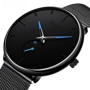 Image 1 - DONROSIN Men Casual Slim Black Mesh Steel Wrist Sport Watch Fashion Mens Watches Top Brand Luxury Quartz Watch Relogio Masculino