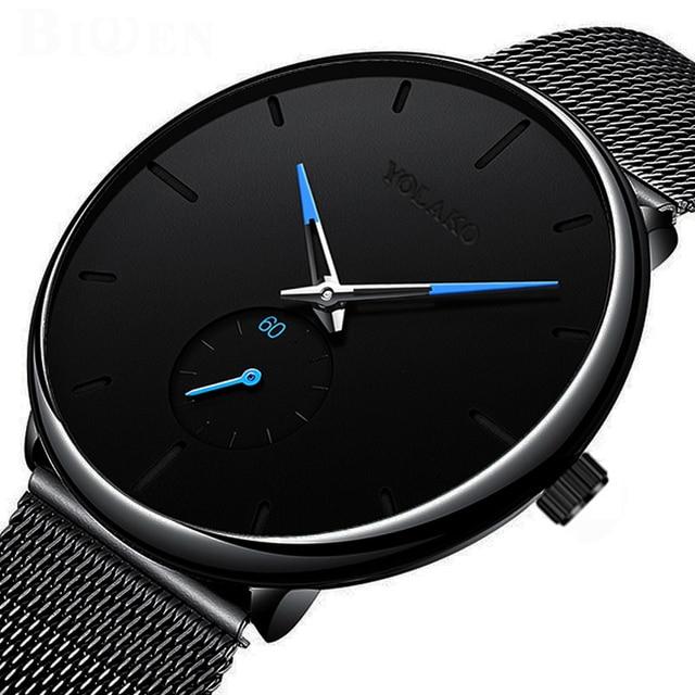 DONROSIN Men Casual Slim Black Mesh Steel Wrist Sport Watch Fashion Mens Watches Top Brand Luxury Quartz Watch Relogio Masculino