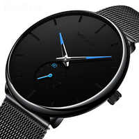 Donrosin homens casual fino preto malha aço relógio de pulso do esporte da forma dos relógios dos homens da marca superior de luxo relógio de quartzo relogio masculino