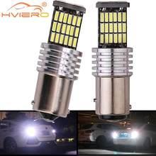 Bombilla LED intermitente trasero para coche, luz de freno R5W, 1156 LEDs, 12V CC, color rojo, blanco y amarillo, 2 uds., 1157, 4014, BA15S