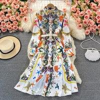 Amolapha 2021 أوروبا المحكمة نمط Pring جديد المرأة ملابس منقوشة بكم طويل قميص فستان واحدة الصدر وشاحات التفاصيل Vestidos