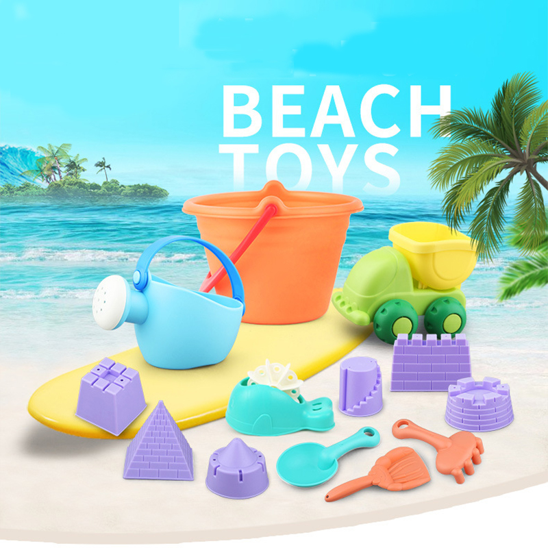 Summer Silicone Soft Baby Beach Toys Kids Bath Play Set Toy Beach Party Cart Bucket Molds Tool Water Game Gift For Boys Girls