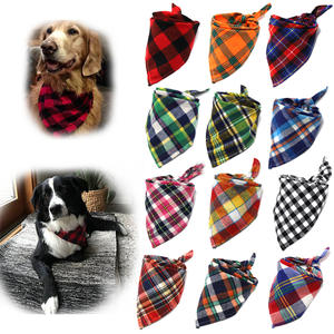 Pet-Scarf Collar Dog-Bandanas Dog-Accessories Plaid Large for Cotton Washablebow Ties
