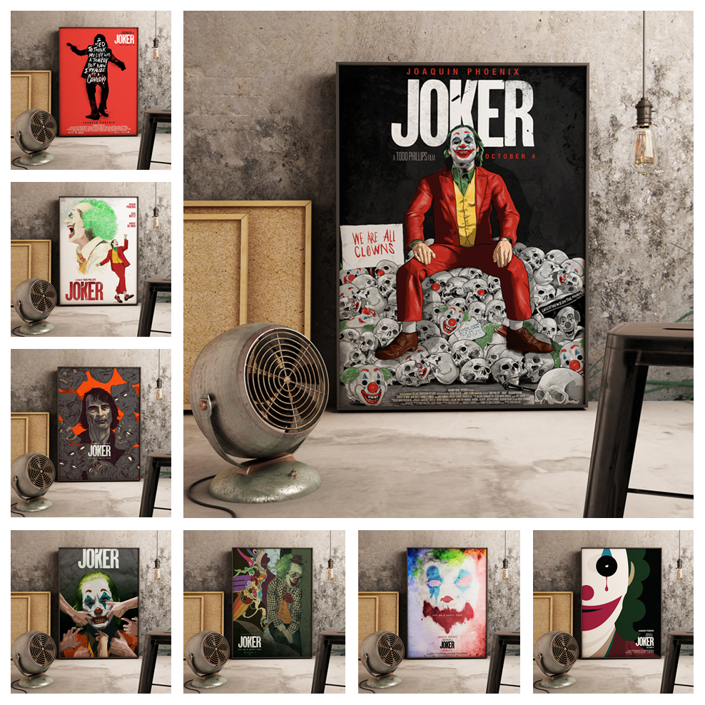 Superhero Joker 2019 Joaquin Phoenix Heath Ledger Movie Comics Room Wall Art Painting Print On Canvas Poster Pictures Home Decor