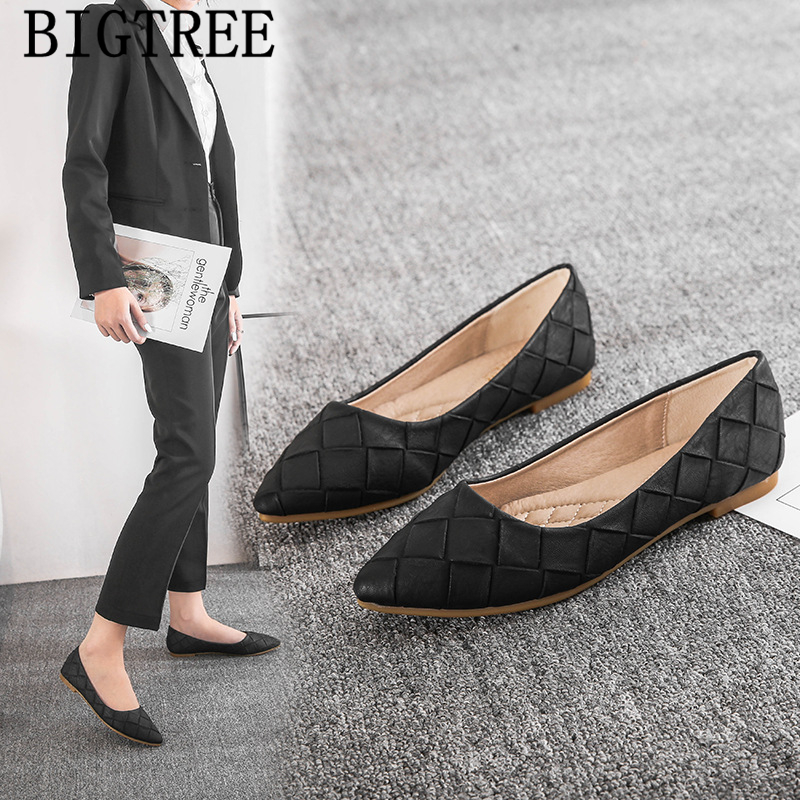 Leather Shoes Women Pointed Toe Flats