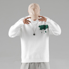 Sweater Men Fashion Print Casual O-Neck Knit Pullover Streetwear Hip Hop Loose Long Sleeve Sweter Male Clothes S-2XL