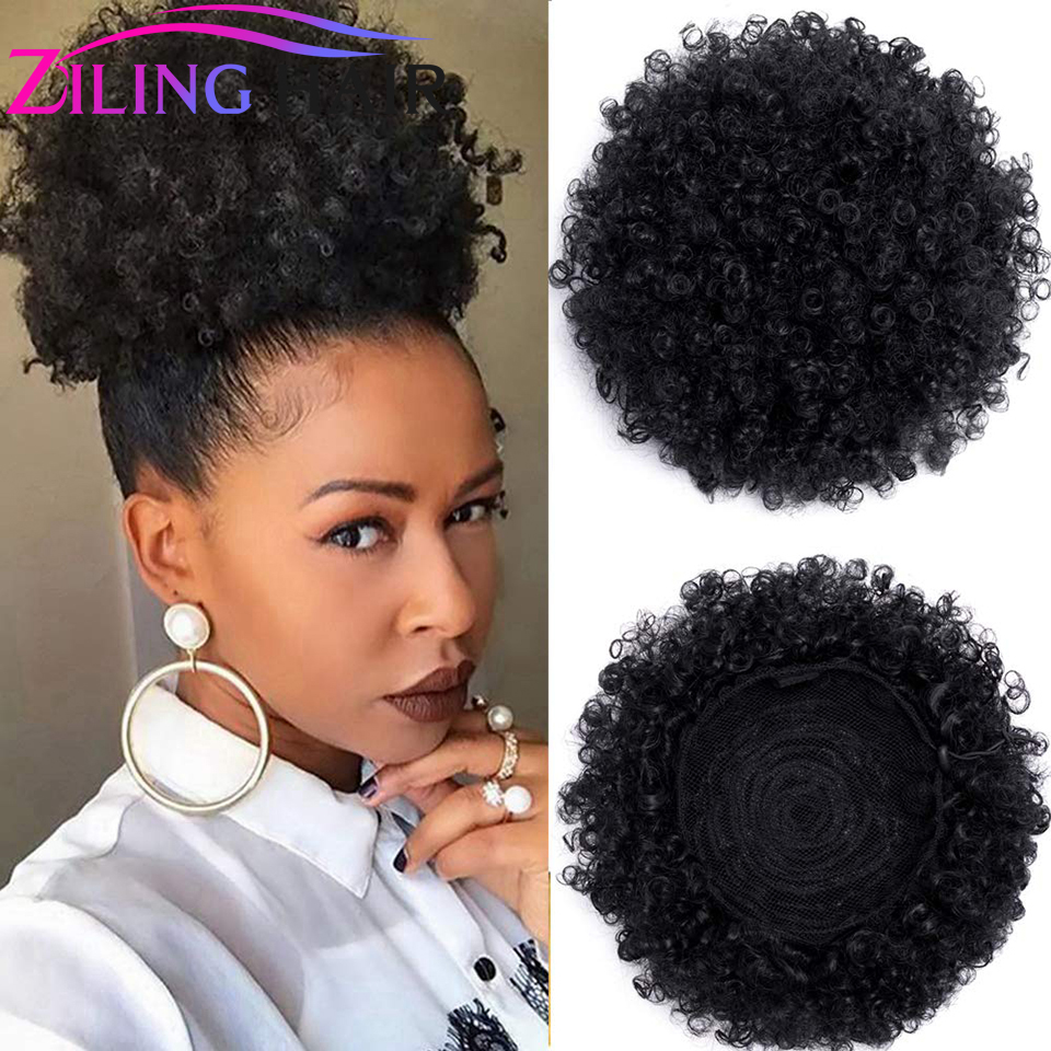 Synthetic Kinky Curly High Puff Hairpiece Hair Afro Updo Scrunchie Hair Accessory Chignon Bun With Clips In For Girl And Women