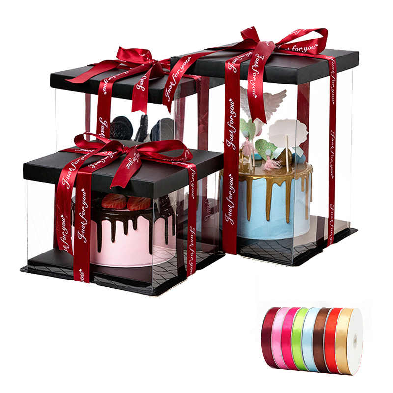 Square Kue Kotak Bening Transparan 4/6/8/10/12 Inch Pameran Penyimpanan Kemasan Plastik Festival Bunga Pernikahan ulang Tahun Pesta Hadiah