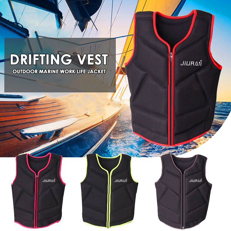 Fishing Life Jacket Adjustable Rescue Canoeing Buoyancy Adult Black Sea Swimming Survival wakeboard Vest Floating Detachable