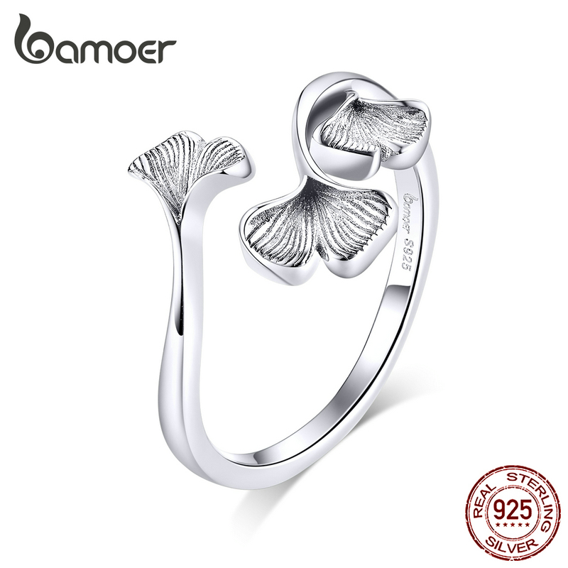 Bamoer Silver 925 Design Ginkgo Leaf  Finger Rings For Women Vintage Bijoux 925 Sterling Silver Trendy Wedding Jewelry BSR097