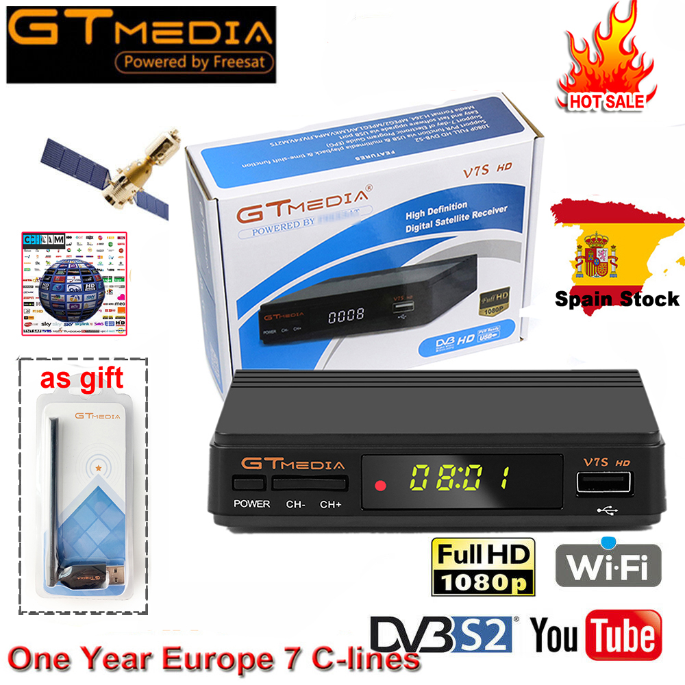 FTA DVB-S2 Satellite TV Receiver Gtmedia V7S HD 1080P With USB WIFI Support YouTube 1 Year Cccam Cline Free Power By Freesat V7