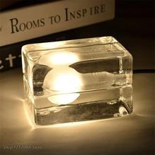 Nowoczesny przezroczysty szklany lampa stołowa LED wyczyść Ice Cube lampa stołowa Nordic sypialnia lampki nocne biurko domowe lampki dekoracyjne oprawy tanie tanio LZPZ RUI Brak iron 0-5 w 90-260 v Szkło kamień Pokrętło przełącznika Malowane Łóżko pokój Dół Kości słoniowej