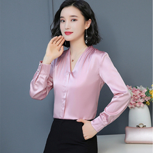 Korean Fashion Silk Women Blouses Solid Long Sleeve Pink Women Shirts Plus Size XXXL/4XL Blusas Femininas Elegante Ladies Tops